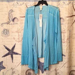 Chico's cardigan, light blue dye effects